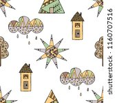 hand drawn seamless pattern ... | Shutterstock . vector #1160707516