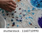 colored mosaic and white surface | Shutterstock . vector #1160710990