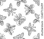 hand drawn seamless pattern ... | Shutterstock . vector #1160711659