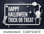 paper art of happy halloween ... | Shutterstock .eps vector #1160712673