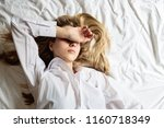 young woman with blonde hair...   Shutterstock . vector #1160718349