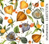watercolor physalis seamless... | Shutterstock . vector #1160727376