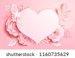 romantic floral paper art with... | Shutterstock .eps vector #1160735629