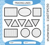 tracing lines. kids education.... | Shutterstock .eps vector #1160739250