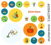 set of flat autumn icons.... | Shutterstock .eps vector #1160740039