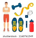 man and sport items isolated... | Shutterstock .eps vector #1160761549