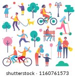park full of people isolated... | Shutterstock .eps vector #1160761573