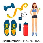 weight loss of woman isolated...   Shutterstock .eps vector #1160763166