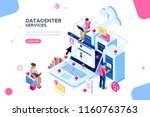internet datacenter connection  ... | Shutterstock .eps vector #1160763763