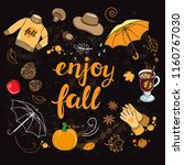autumn template with doodle... | Shutterstock .eps vector #1160767030