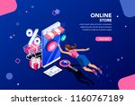 concept of young buyer online... | Shutterstock .eps vector #1160767189