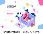 girl sitting on the sofa works... | Shutterstock .eps vector #1160774296