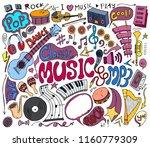set of music doodle vector.... | Shutterstock .eps vector #1160779309