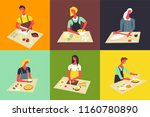 woman cooking at kitchen vector ...   Shutterstock .eps vector #1160780890