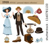 1910 fashion style man and woman personal objects