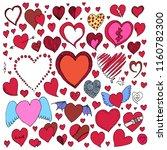 set of heart doodle vector.... | Shutterstock .eps vector #1160782300