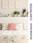 floral bedding and pastel pink... | Shutterstock . vector #1160783530