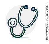 stethoscope simple sketch icon... | Shutterstock .eps vector #1160791480