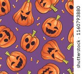halloween seamless pattern... | Shutterstock .eps vector #1160793880