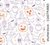 halloween seamless pattern... | Shutterstock .eps vector #1160793883