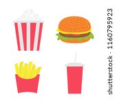 french fries potato in a paper... | Shutterstock .eps vector #1160795923