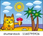 a red cartoon cat with ice... | Shutterstock .eps vector #1160795926