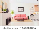 poster on white wall above pink ... | Shutterstock . vector #1160804806