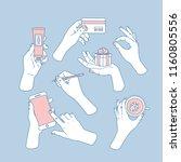 women hands set. hands holding... | Shutterstock .eps vector #1160805556