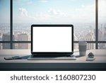 modern designer office... | Shutterstock . vector #1160807230
