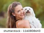 bichon bolognese dog with... | Shutterstock . vector #1160808643