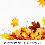 autumn leaves background | Shutterstock . vector #1160809273