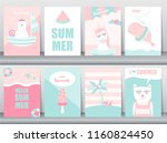 set of summer card on pattern... | Shutterstock .eps vector #1160824450