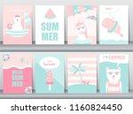 set of summer card on pattern... | Shutterstock .eps vector #1160824450
