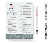 vector creative minimalist cv... | Shutterstock .eps vector #1160833930