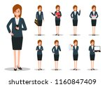 businesswoman working character ... | Shutterstock .eps vector #1160847409
