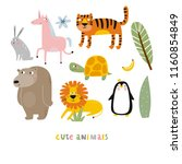 cartoon animals. cute wild... | Shutterstock .eps vector #1160854849