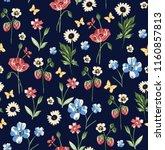 flower pattern on navy | Shutterstock .eps vector #1160857813