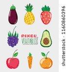 set of pixelated natural food | Shutterstock .eps vector #1160860396
