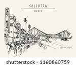 Kolkata (Calcutta), India. The British-era Howrah Junction Railway Station and Howrah Bridge across Hooghly River. Heritage architecture. Famous historical landmarks. Vector hand drawn travel postcard