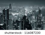 hong kong city skyline at night ... | Shutterstock . vector #116087230