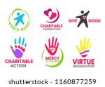 charity icons of people red... | Shutterstock .eps vector #1160877259