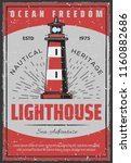 lighthouse retro poster for... | Shutterstock .eps vector #1160882686