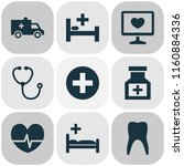 drug icons set with pulse ... | Shutterstock .eps vector #1160884336
