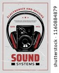 sound systems retro poster for... | Shutterstock .eps vector #1160884879