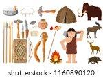 cartoon style set of primitive... | Shutterstock .eps vector #1160890120