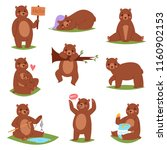 bear vector set cartoon animal... | Shutterstock .eps vector #1160902153