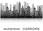 modern city skyline with shadow ... | Shutterstock .eps vector #1160902906
