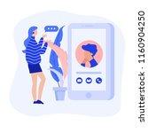 video chatting online on...   Shutterstock .eps vector #1160904250