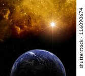 Abstract scientific background - planet Earth in space with stars. Elements of this image furnished by NASA - stock photo