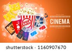cinema and movie time banner...   Shutterstock .eps vector #1160907670